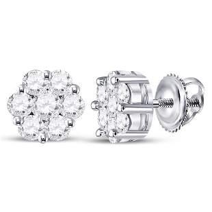 14kt White Gold Womens Round Diamond Flower Cluster
