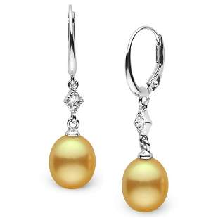 Drop-Shape Golden South Sea Pearl and Diamond Aerie
