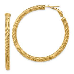 14k Yellow Gold Twisted Omega Back Hoop Earrings - 40