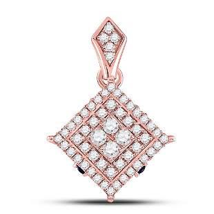 14kt Rose Gold Womens Round Diamond Offset Square