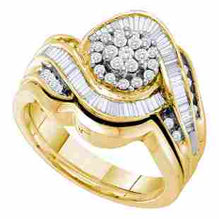 14kt Yellow Gold Round Diamond Cluster Bridal Wedding