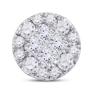 14kt White Gold Womens Princess Diamond Fashion Cluster