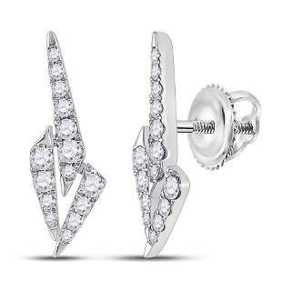 14kt White Gold Womens Round Diamond Fashion Earrings