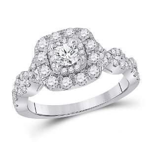 14kt White Gold Round Diamond Halo Bridal Wedding
