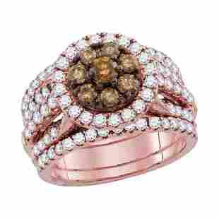 14kt Rose Gold Womens Round Brown Diamond 3-Piece
