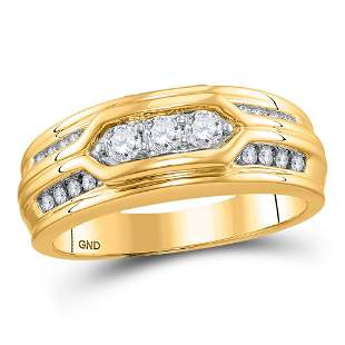 14kt Yellow Gold Mens Round Diamond Wedding Band Ring