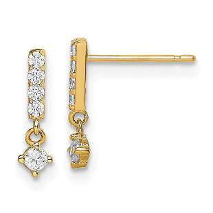 14k Yellow Gold Bar with Dangle Cubic Zirconia Post