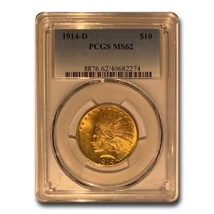 1914-D $10 Indian Gold Eagle MS-62 PCGS
