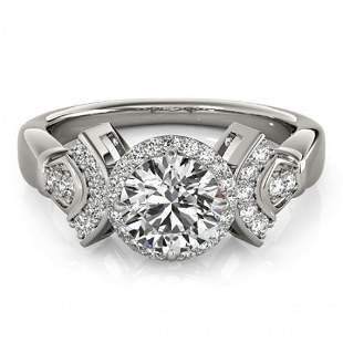 Natural 1.56 ctw Diamond Solitaire Halo Ring 14k White