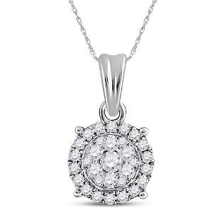14kt White Gold Womens Round Diamond Halo Cluster