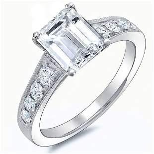 Natural 2.12 CTW Emerald Cut w/ Milgrain Detail Diamond