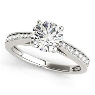 Natural 0.7 ctw Diamond Solitaire Ring 14k White Gold