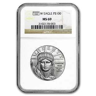 1 oz Platinum American Eagle MS-69 NGC (Random Year)