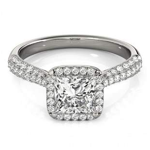 Natural 1.15 ctw Princess Diamond Halo Ring 14k White