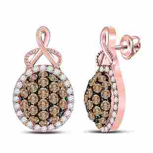 14kt Rose Gold Womens Round Brown Diamond Cluster