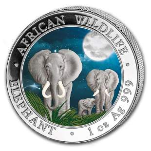 2014 Somalia 1 oz Silver Elephant (Colorized)