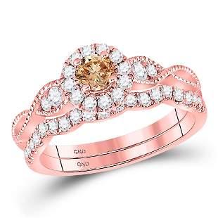14kt Rose Gold Womens Round Brown Diamond Bridal