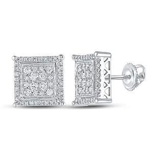 14kt White Gold Mens Round Diamond Square Earrings 1/2