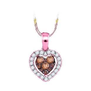 14kt Rose Gold Womens Round Brown Diamond Frame Heart