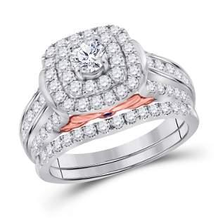 14kt White Gold Round Diamond Halo Bridal Wedding Ring