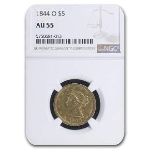 1844-O $5 Liberty Gold Half Eagle AU-55 NGC