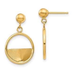 14k Yellow Gold Circle Dangle Post Earrings