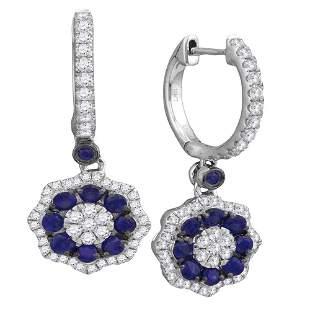 18kt White Gold Womens Round Blue Sapphire Dangle