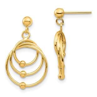 14k Yellow Gold Circles Post Dangle Earrings