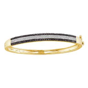 14kt Yellow Gold Womens Round Black Color Enhanced