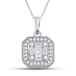 14kt White Gold Womens Baguette Diamond Fashion Cluster