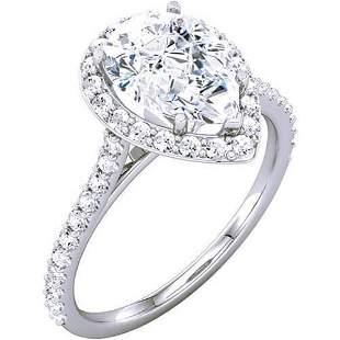 Natural 1.87 CTW Halo Pear Cut Tear Drop Diamond