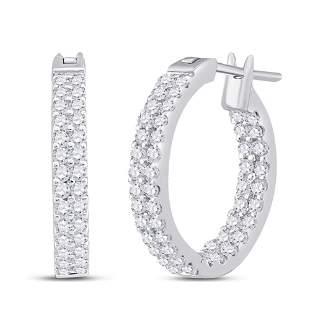 14kt White Gold Womens Round Diamond Inside Outside