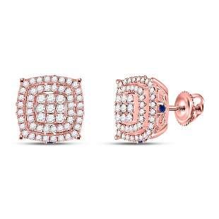14kt Rose Gold Womens Round Diamond Blue Sapphire