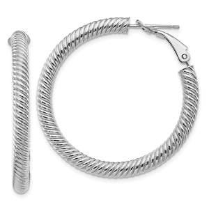 14k White Gold Twisted Round Omega Back Hoop Earrings -