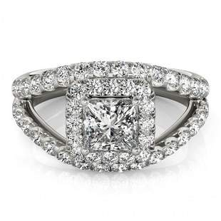 Natural 1.85 ctw Princess Diamond Halo Ring 14k White