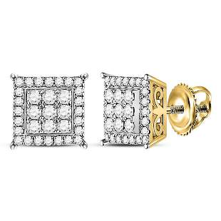 14kt Yellow Gold Womens Round Diamond Square Earrings