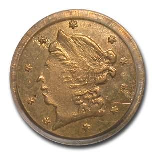 1859 Liberty Round 25 Cent Gold MS-63 PCGS (BG-801)