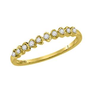 14kt Yellow Gold Womens Round Diamond Heart Stackable