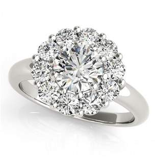 Natural 1.38 ctw Diamond Solitaire Halo Ring 14k White