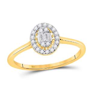 14kt Yellow Gold Womens Round Diamond Oval Ring 1/6