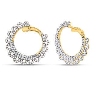14kt Yellow Gold Womens Round Diamond Hoop Earrings