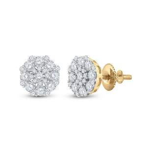 14kt Yellow Gold Womens Round Diamond Cluster Earrings