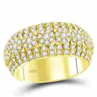 14kt Yellow Gold Mens Round Diamond Luxury Lined