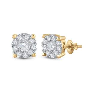 14kt Yellow Gold Womens Round Diamond Halo Earrings 3/4