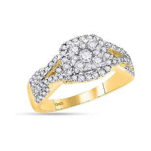 14kt Yellow Gold Round Diamond Square Cluster Bridal