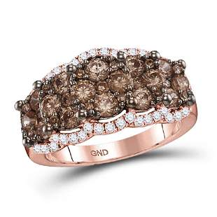 14kt Rose Gold Womens Round Brown Diamond Band Ring 2