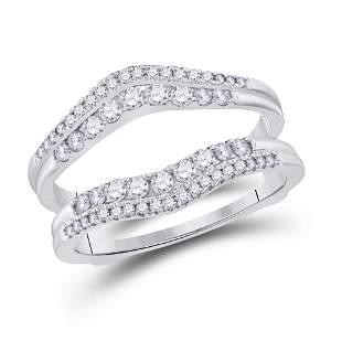 14kt White Gold Womens Round Diamond Wrap Ring Guard