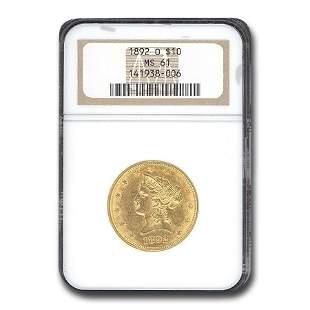 1892-O $10 Liberty Gold Eagle MS-61 NGC
