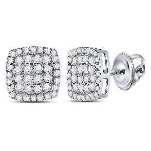 14kt White Gold Womens Round Diamond Cluster Cushion