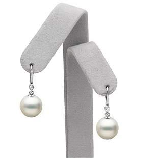 White South Sea Pearl and Diamond Bezel Dangle Earrings